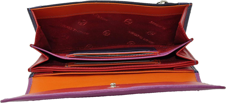 avec Porte-monnaie Sergio Tacchini Portefeuille Femme Spacieux Avec Int/érieur Multicolore en Cuir v/éritable