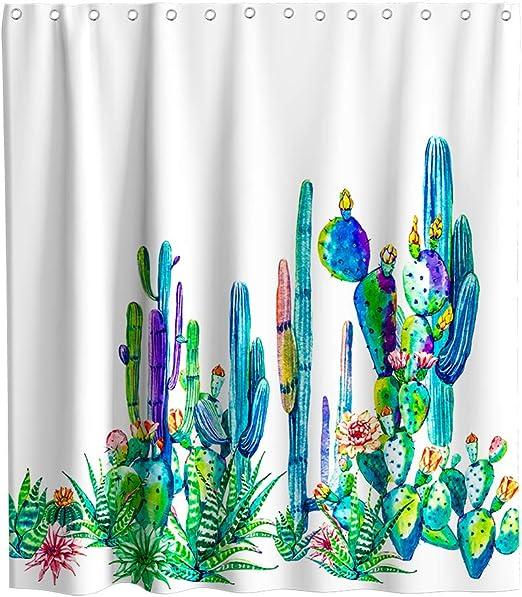 Shower Curtain Cactus Flower Cacti 72W x 72H Waterproof Fabric Bathroom Decor