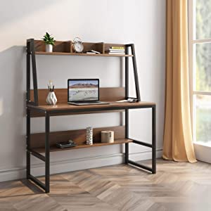 Computer Desk with Hutch and Shelf -47.2 inch Writing Study Table with Bookshelf Study Desk Modern Office Desk Stable Corner Desk for Small Space Steel Frame & Wood Desk Home Office Workstation Walnut