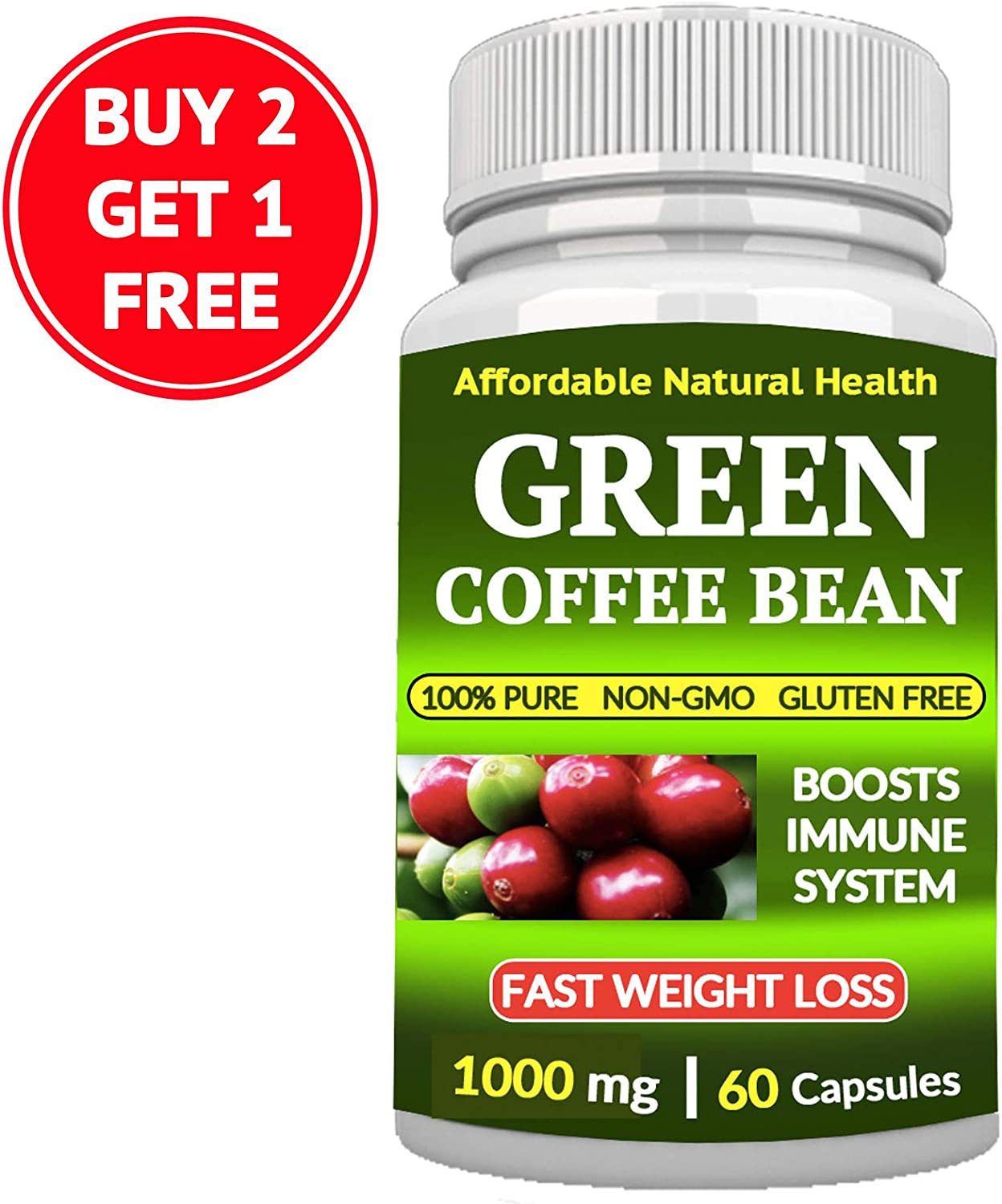 Amazon Com Green Coffee Bean Extract Supplement Capsules Appetite Suppressant 60 Capsules 1 Month Supply 1000