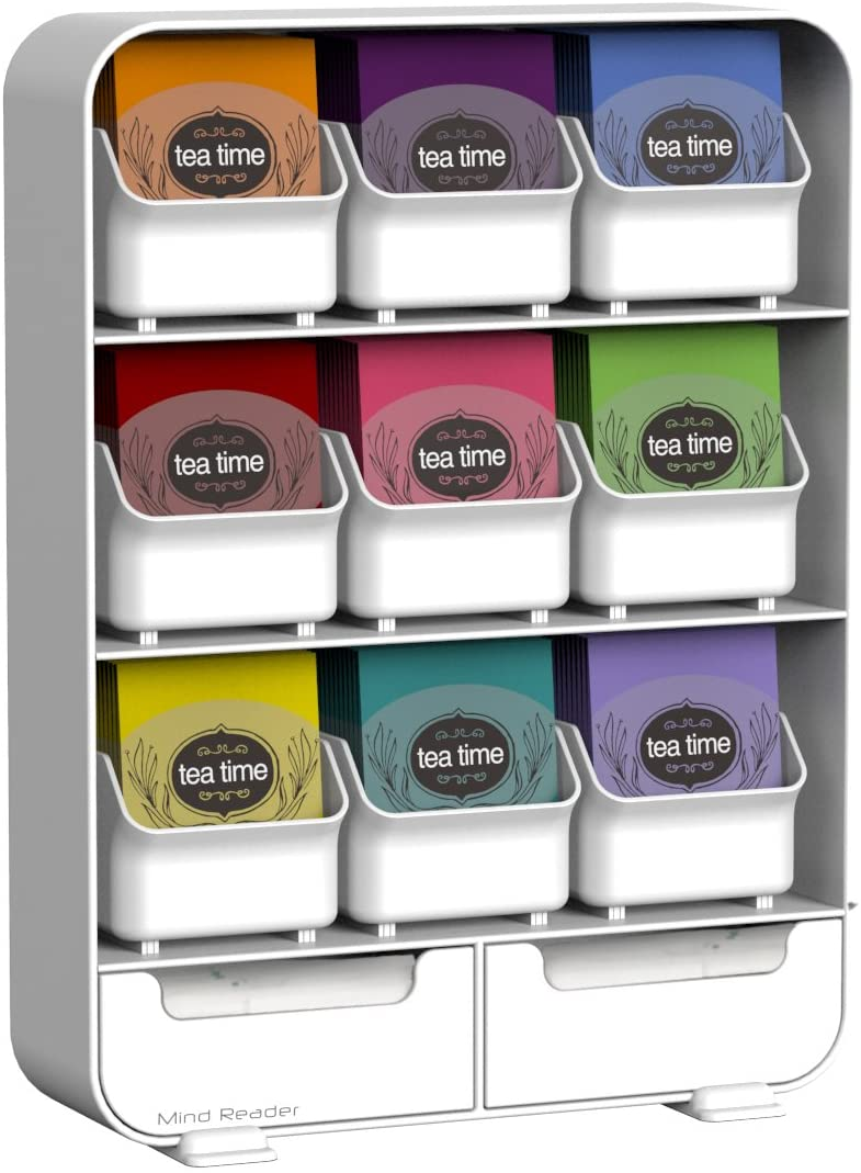 Mind Reader 9 Removable Drawers Tea Bag holder and Condiment Organizer, White