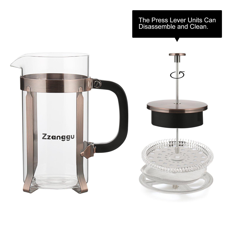 Zzanggu French Press Coffee Tea Maker Pot Travel Mug with