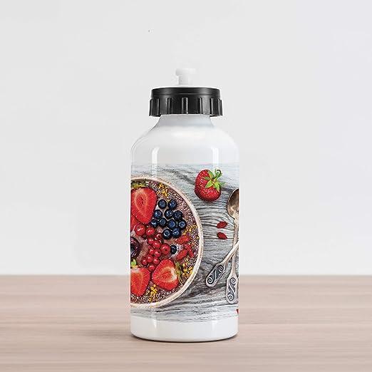 Ambesonne - Botella de agua de aluminio con diseño de mantequilla de maní y mantequilla de cacahuete,