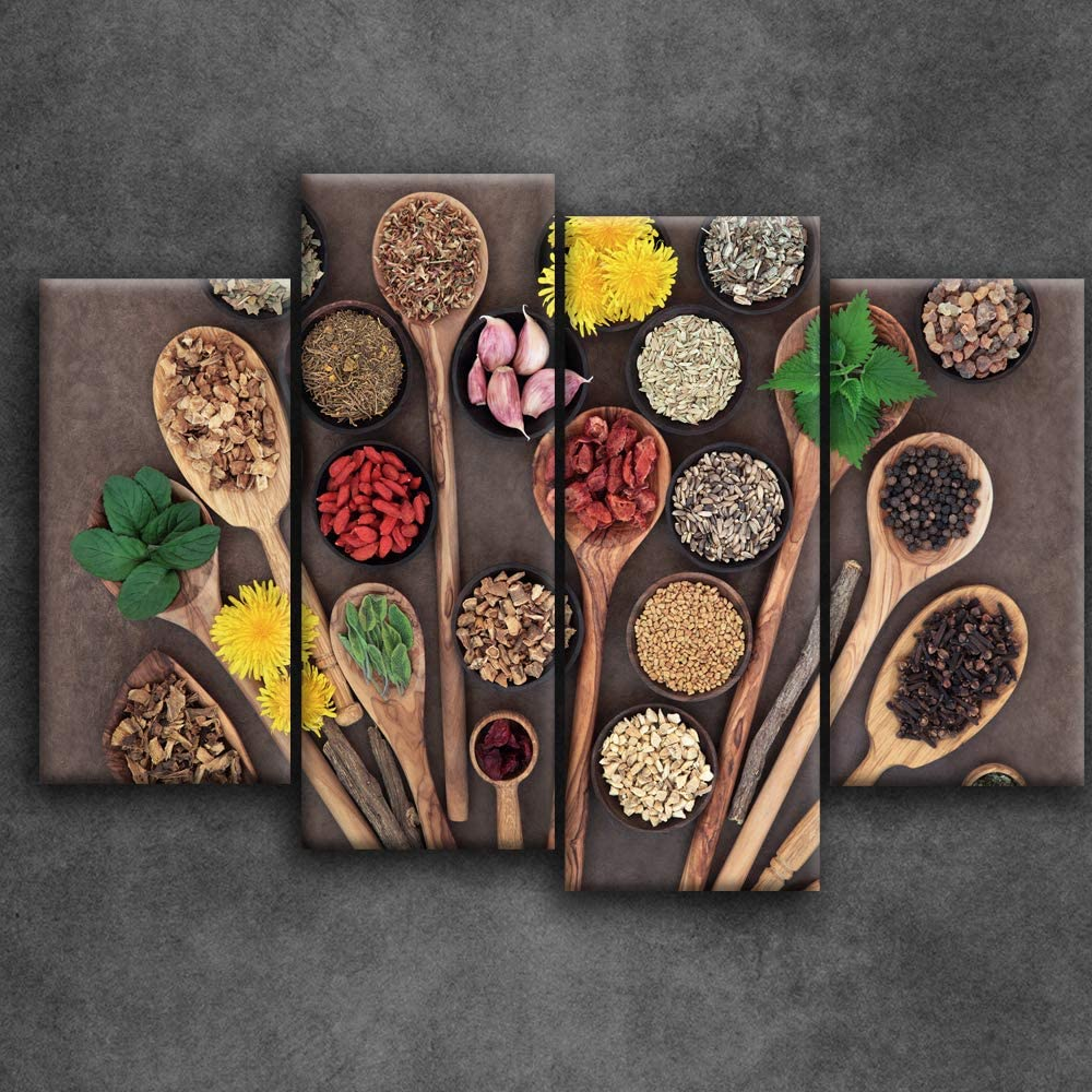 Artsbay 4 Piece Spice and Spoon Canvas Wall Art Vintage Kitchen Picture Wall Decor Food Painting Print for Home Dining Room Restraunt Decor Stretched Ready to Hang