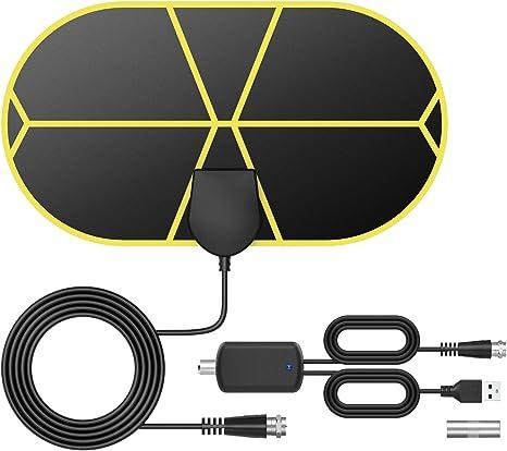 Antena TV Interior, TICTID Antena TV Portátil HDTV Digital con Amplificador de Señal Inteligente, Soporte 4K 1080 HD/VHF/UHF, Apto para Todos los Tipos de Televisores: Amazon.es: Electrónica