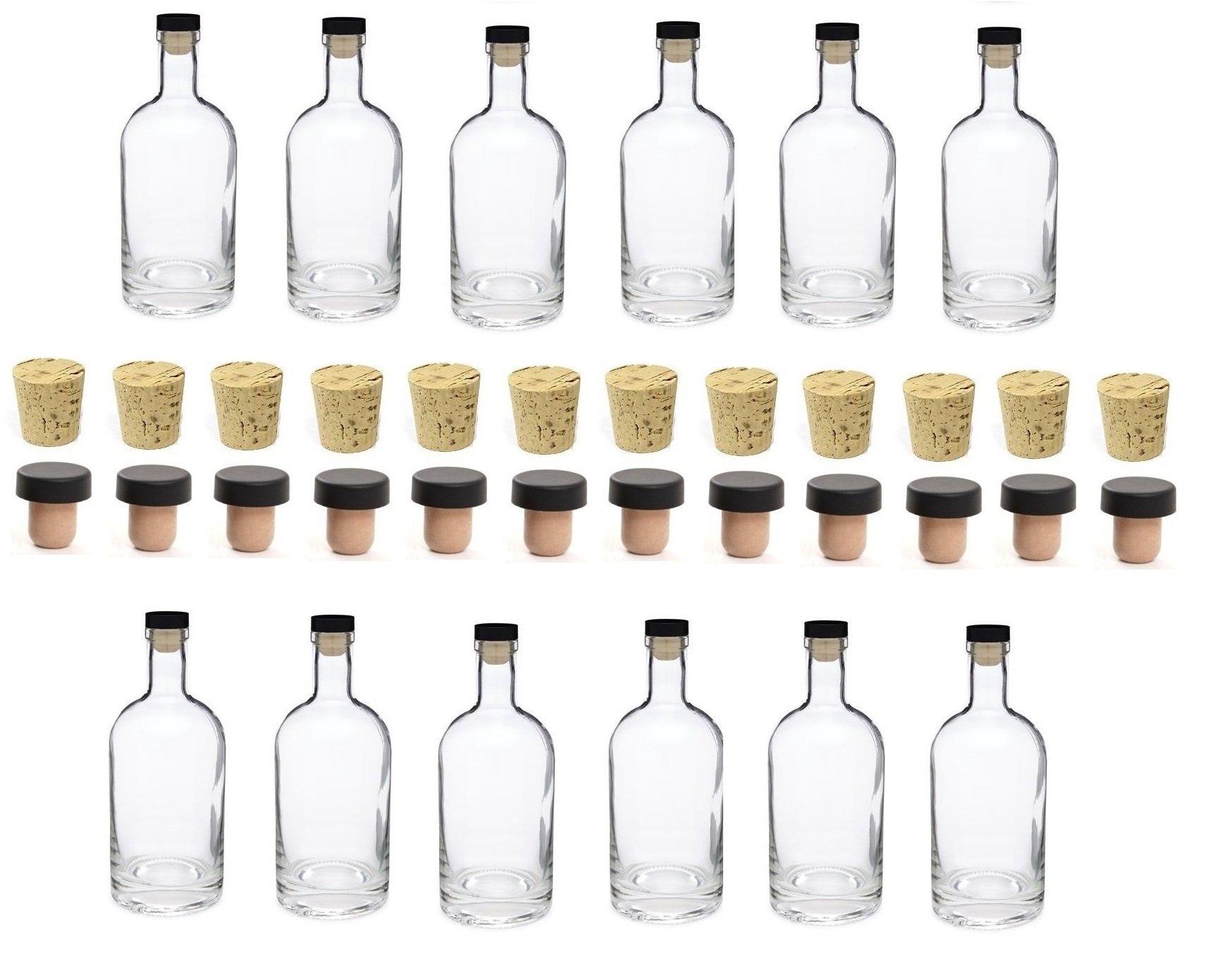 Nakpunar 12 pcs 25 oz Heavy Base Glass Liquor Bottle with T-Top Synthetic Stopper with Bonus Regular Bottle Cork - 750 ml by Nakpunar
