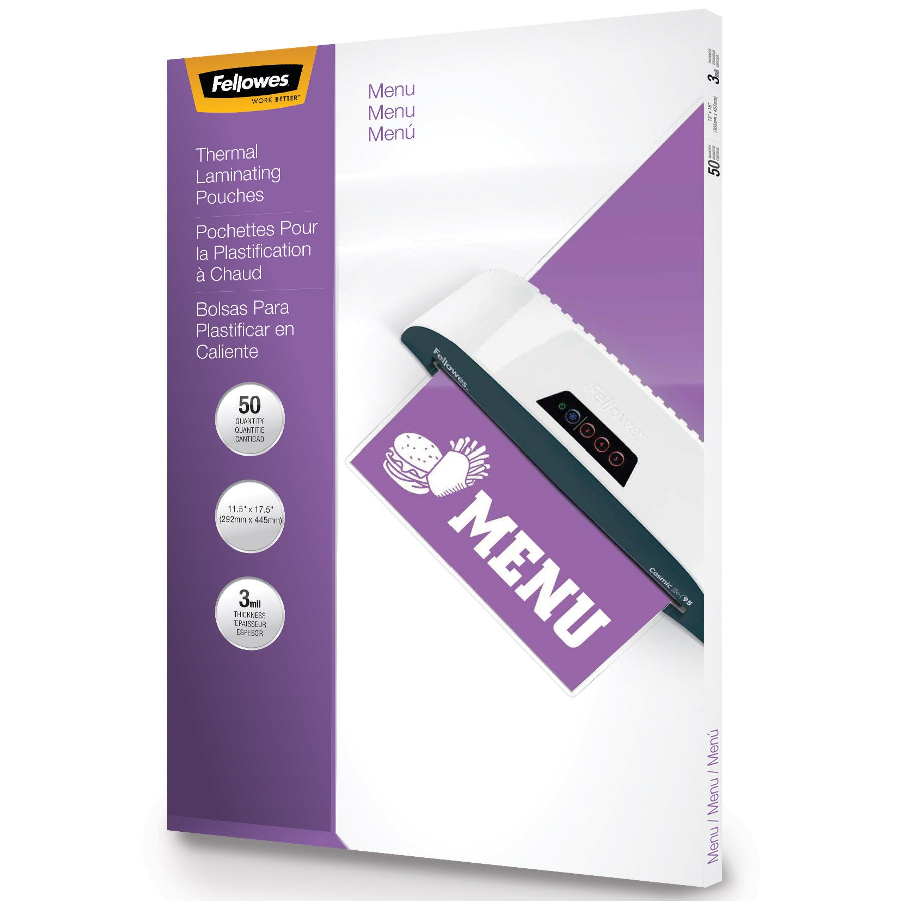 Fellowes Laminating Pouches, Thermal, Menu Size, 3 Mil, 50 Pack (52013)