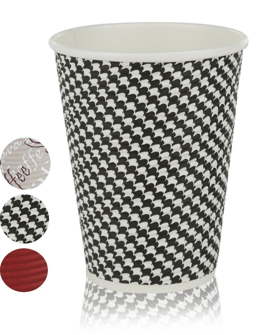 Quality Disposable Hot Coffee Insulated Cups By Golden Spoon - 50 Pack - Stylish Contemporary Ripple Design - Perfect For Coffee Shops And Bars (12 oz, Checkered Design) by Golden Spoon