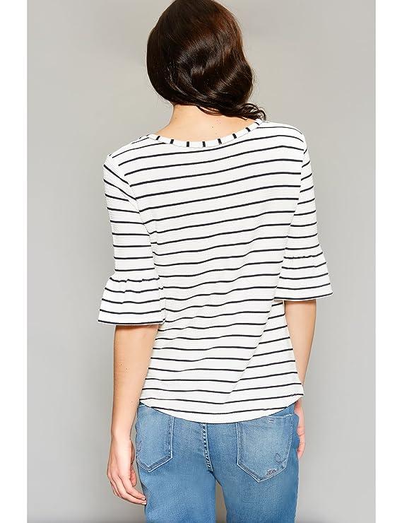 Punto Hilo Mujer En Oltre L Teñido Amazon De Camiseta Blanco EqwxXXFSn