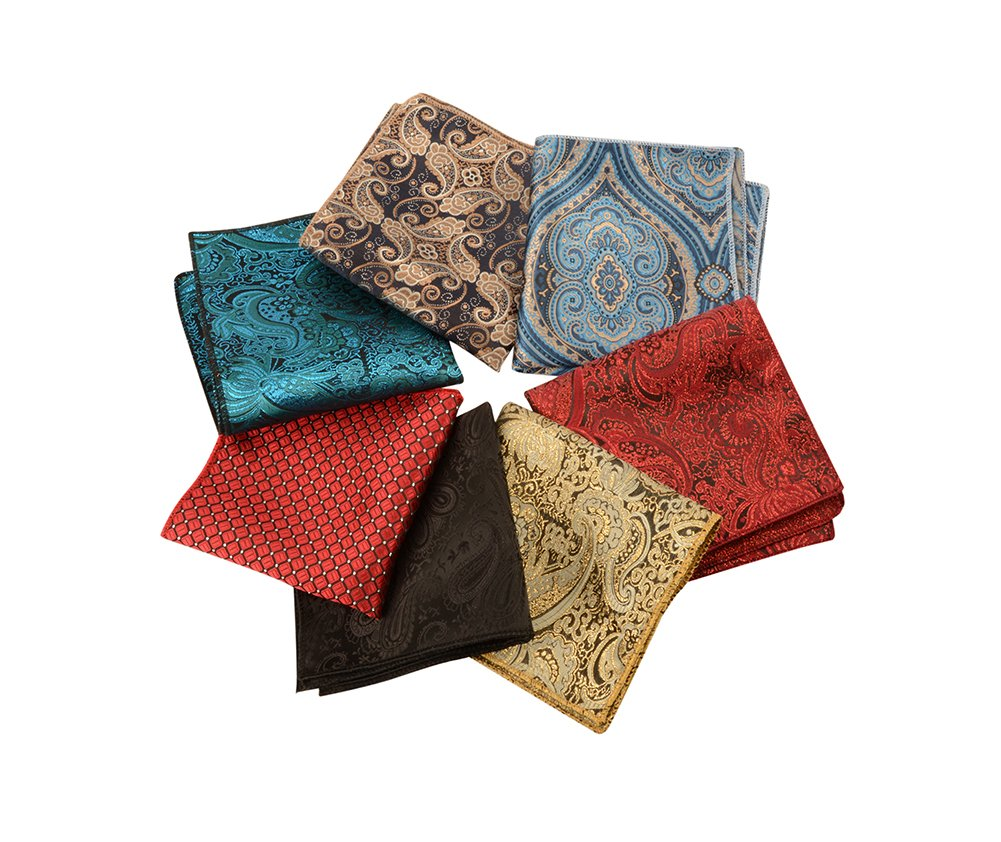 YOMM Microfiber Pocket Square Handkerchief Texture Series for Men Assorted Styles