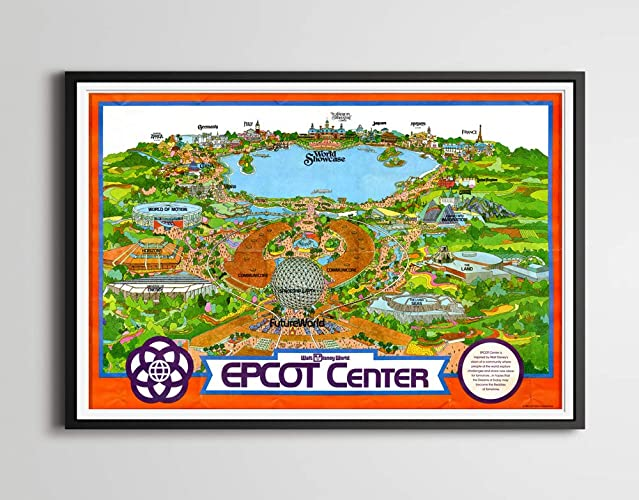 Amazon.com: Vintage EPCOT CENTER Inaugural Year Park Map ...