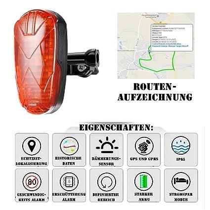 GPS Rastreador peil emisor para bicicletas en un superhellen LED Luz trasera rojo GPS Transmisor de
