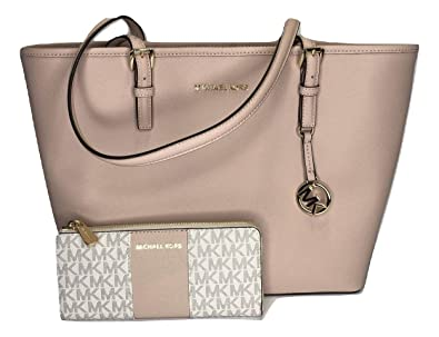 49e46708c24a Amazon.com: MICHAEL Michael Kors Jet Set Travel MD Carryall Tote bundled  with Michael Kors Jet Set Travel LG 3/4 Zip Wallet (Ballet/Signature MK  Vanilla): ...