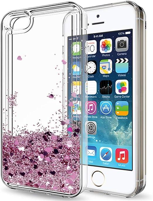 LeYi Coque iPhone 5S Coque iPhone SE 2016 avec film de protection d'écran HD Paillettes Mignon Brillant Clair Sable Rapide Liquide TPU Coque Coque ...