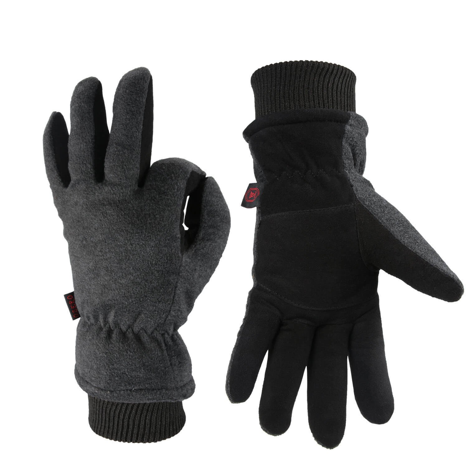 OZERO Work Gloves -30°F Coldproof Winter Ski Snow Glove - Deerskin Leather Palm & Polar Fleece Back Insulated Cotton - Windproof Water-Resistant Warm Hands in Cold Weather Women Men - Gray(M)
