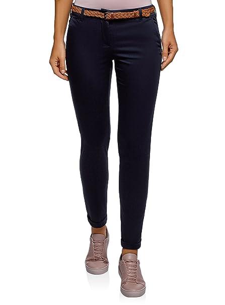 bee292c6199 oodji Ultra Mujer Pantalones Chinos con Cinturón  Amazon.es  Ropa y  accesorios