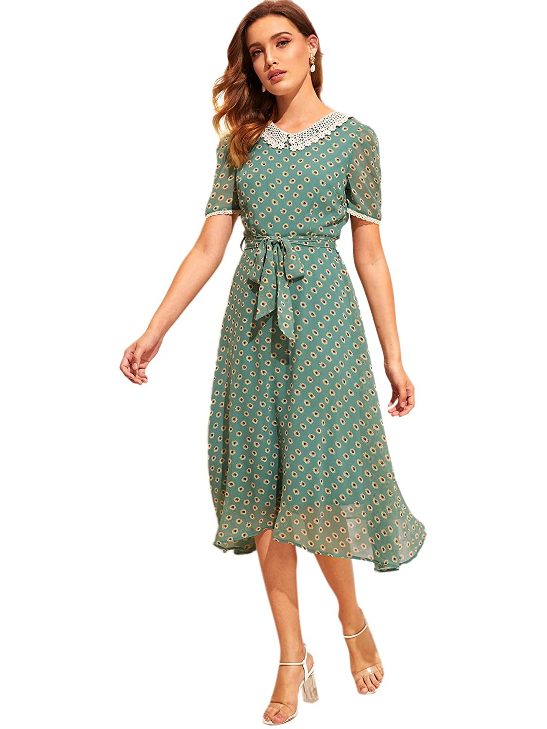 1940s Dresses | 40s Dress, Swing Dress Verdusa Womens Peter Pan Collar Lace Trim Floral Belted Vintage Chiffon Midi Dress $34.99 AT vintagedancer.com