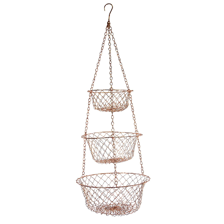 Fox Run 5211 3 Tier Hanging Wire Baskets 1 EA Copper