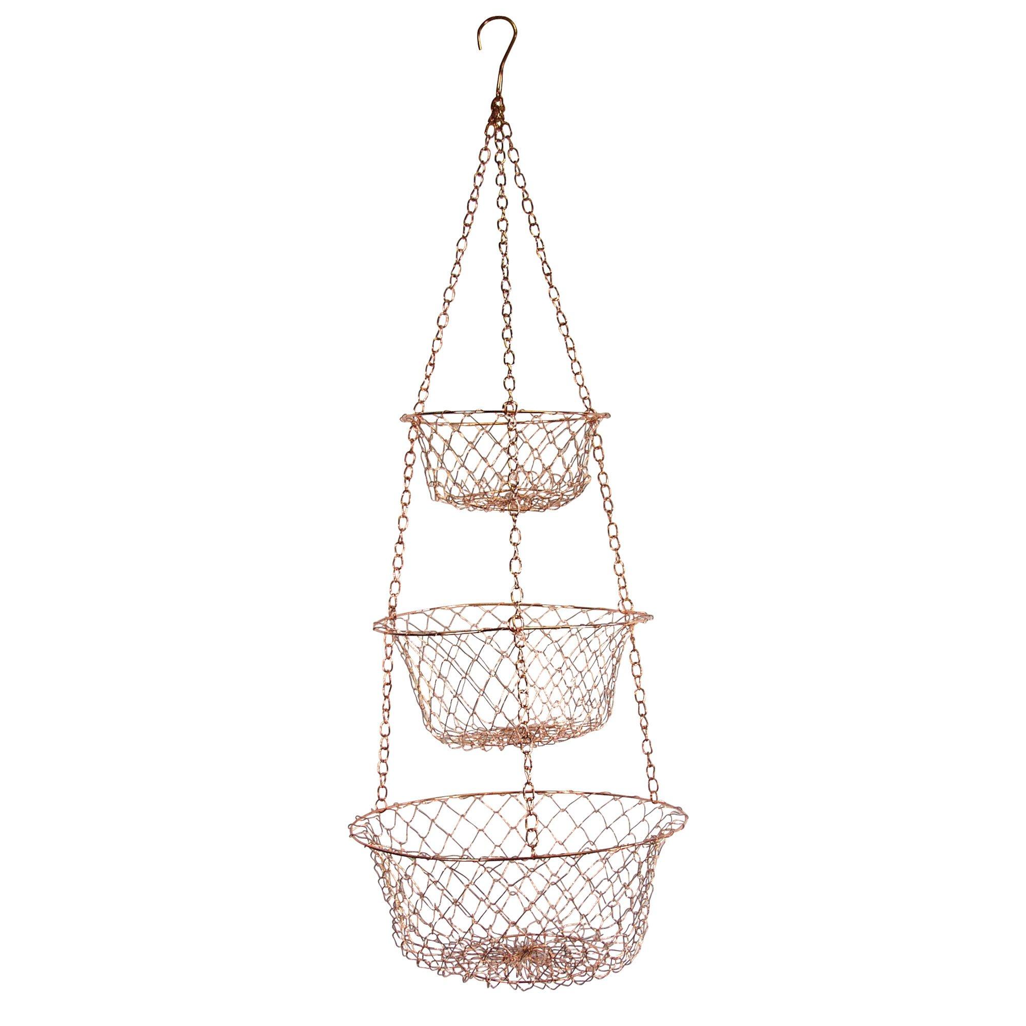 Hanging Kitchen Basket 3 Tier Storage Rack Fruit Vegetable Organizer Wire  Copper