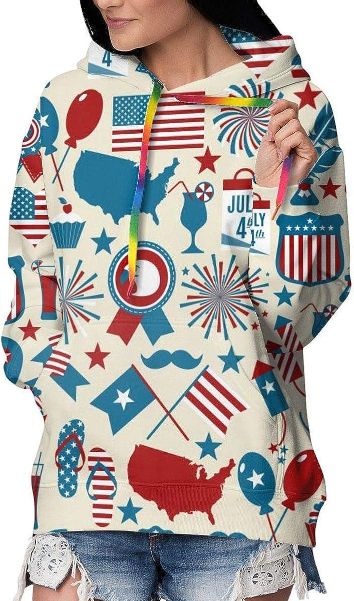 Womens Hoodie Sweatshirt Pullover July 4th Pattern Stars Casual Hooded Tops