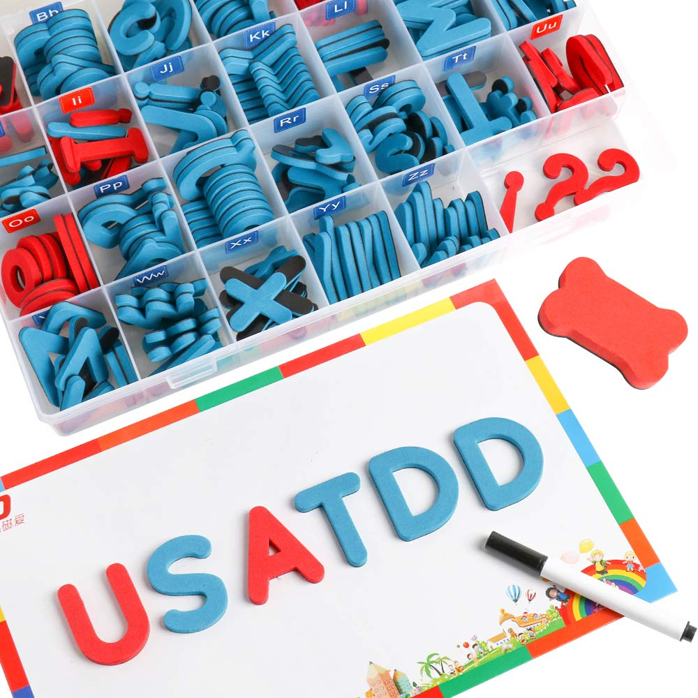 USATDD Magnetic Alphabet Letters 208 Pcs with Magnetic Board and Storage Box Uppercase Lowercase Foam ABC A-Z Magnets for Fridge Refrigerator Educational Toy Set for Classroom Kids Learning Spelling