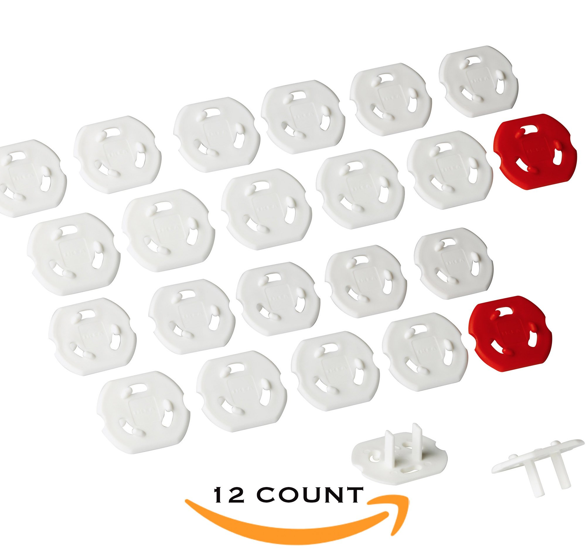 IKEA Patrull 12 Pieces Premium Quality Childproof Outlet Covers New & Improved Baby Safety Plug Covers – Durable & Steady US Outlet (24 Count)