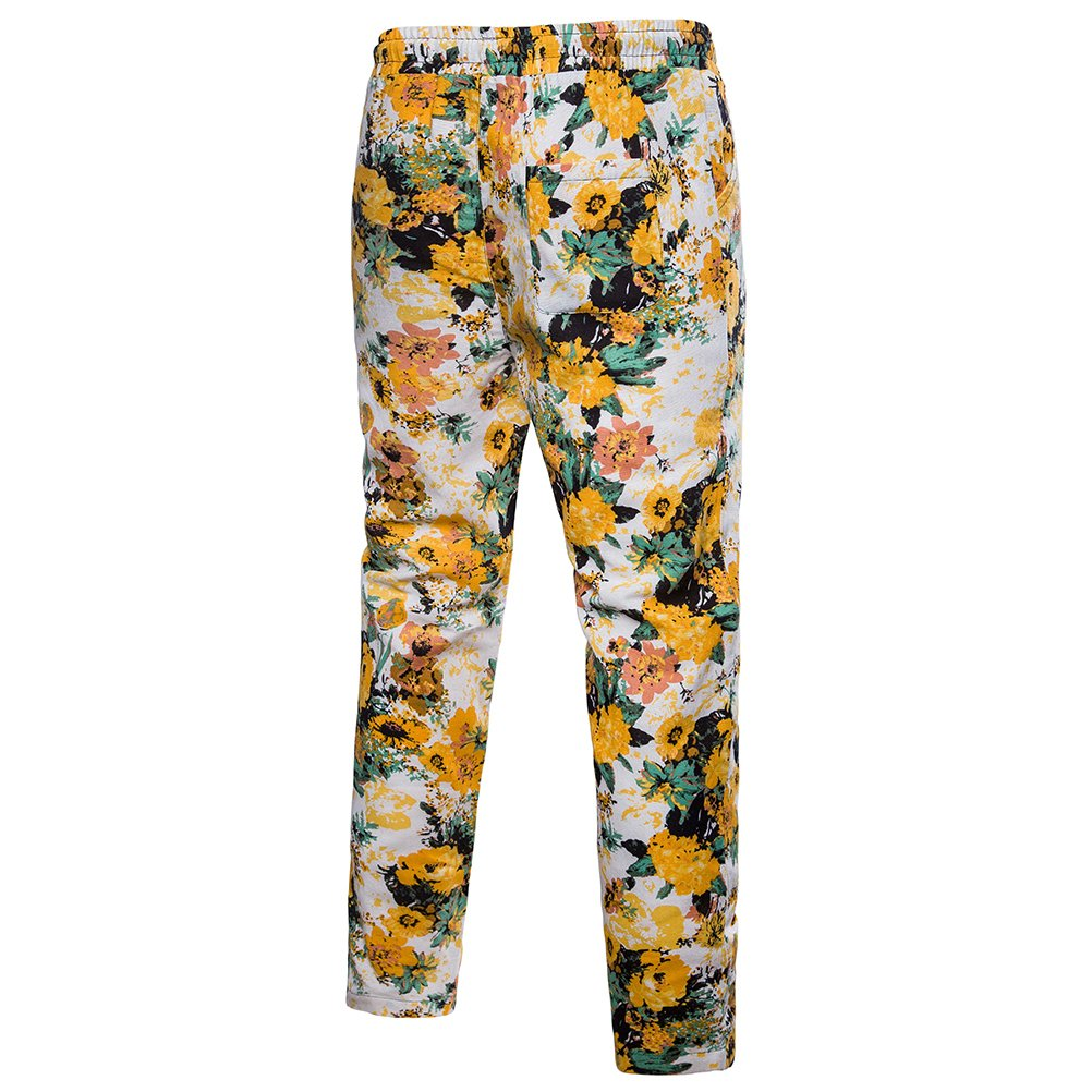 Zhhlinyuan Teens Mens Cozy Breathable Linen Sports Pants Casual Hawaii Trousers