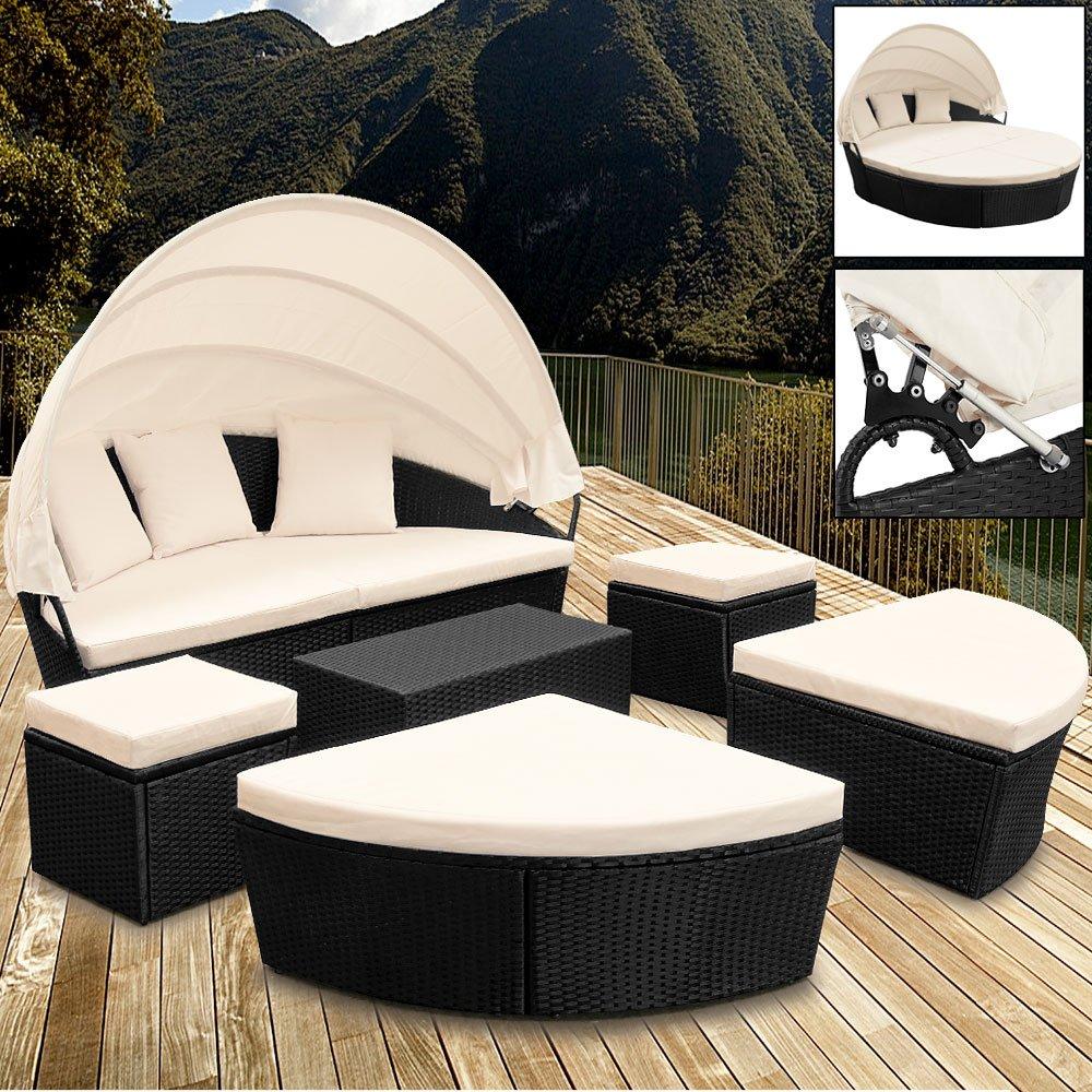 Sonneninsel Poly-Rattan oval 226cm schwarz mit Sonnendach Lounge
