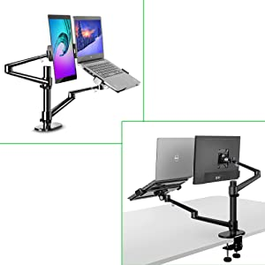 MagicHold 3 in 1 Stand for Laptop and Monitor or Tablet, Laptop/Monitor Desk Stand arm, 360º Rotating, Height Adjustable,Supports Laptop(11-17 inch), Monitor(17-32 inch), Tablet/iPad Pro(5-13 inch)