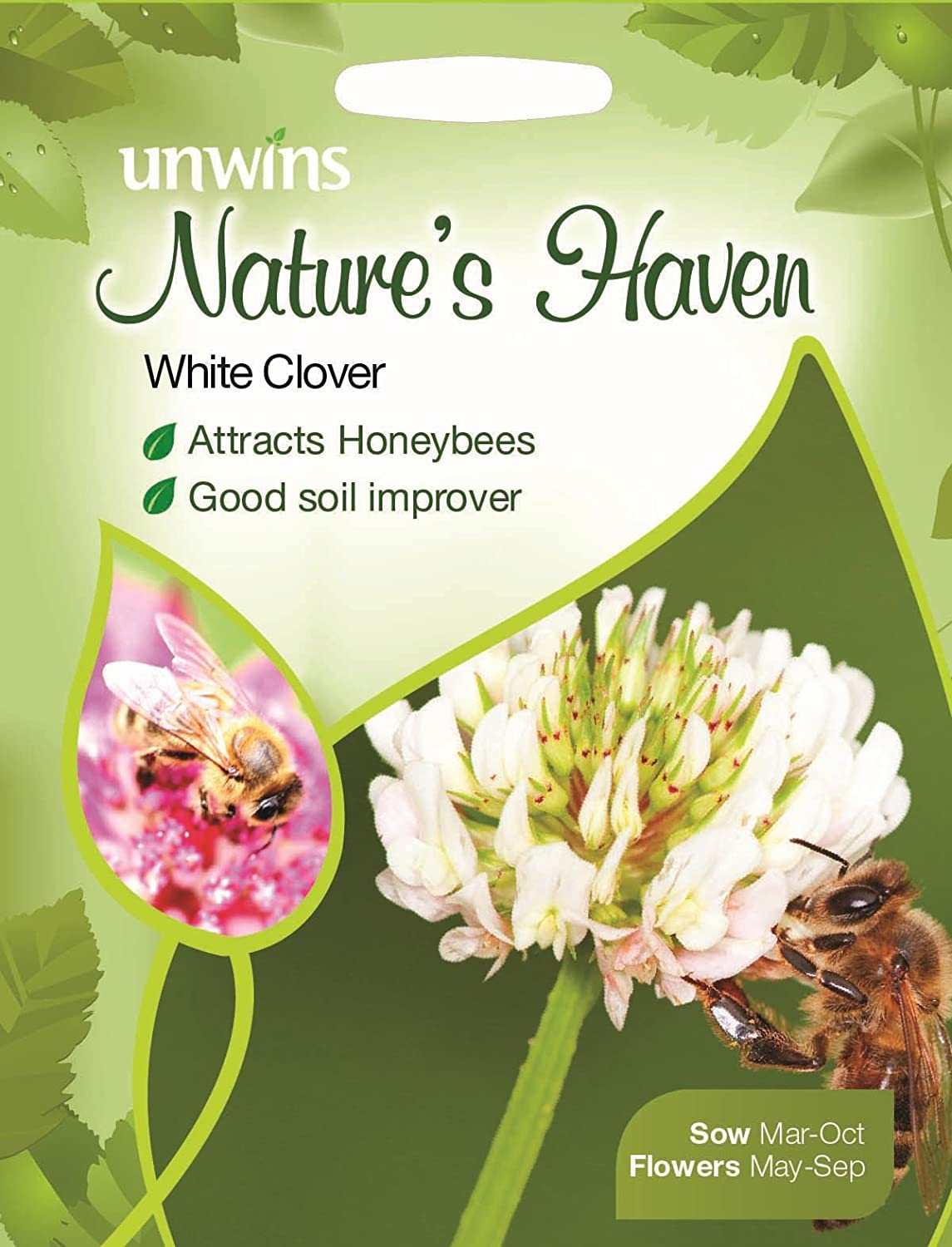 Unwins Pictorial Packet - Natures Haven White Clover - 1000 Seeds