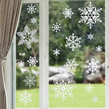 Amazoncom Snowflakes Window Clings Christmas Decorations Xmas - Snowflake window stickers amazon