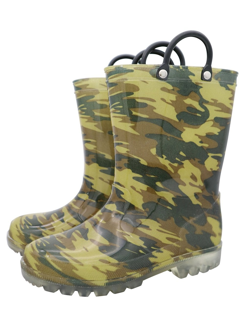 TQ Homebase Boys Rain Boots in Camo Pattern with Easy on Handles and Fully Waterproof at Sizes for Toddlers and Kids 9 M