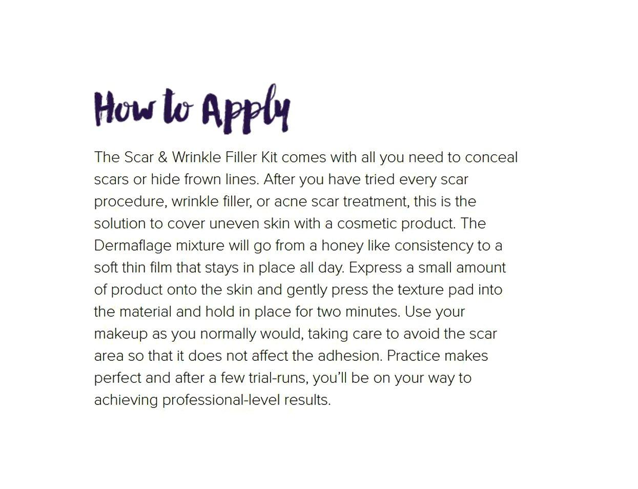 Dermaflage scar concealer from Hollywood, acne scar filler, scar cover up makeup, 1 month supply