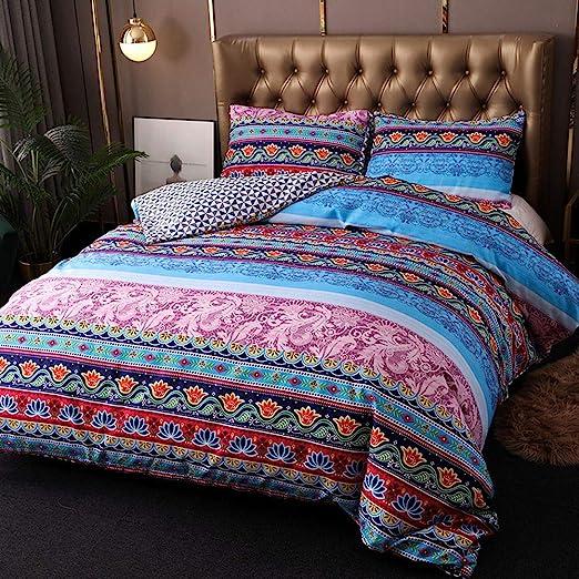Indian Cotton Mix Design Queen Size Duvet Doona Cover Ethnic Comforter Set Decor