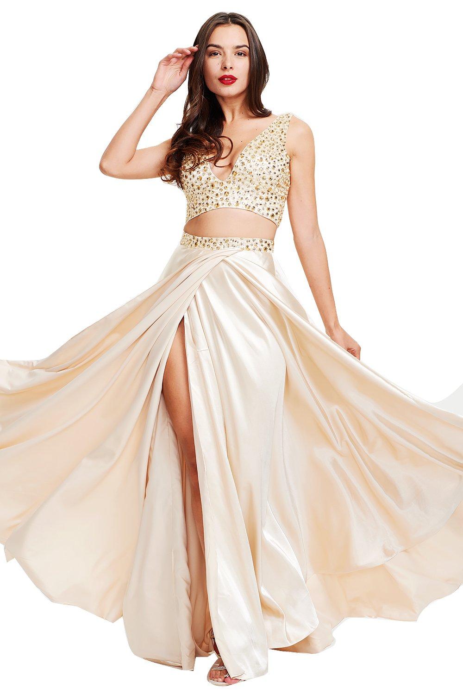 YOUTODRESS Women Beaded 2-Piece Prom Dress Long Side Slit A-Line Evenign Gown