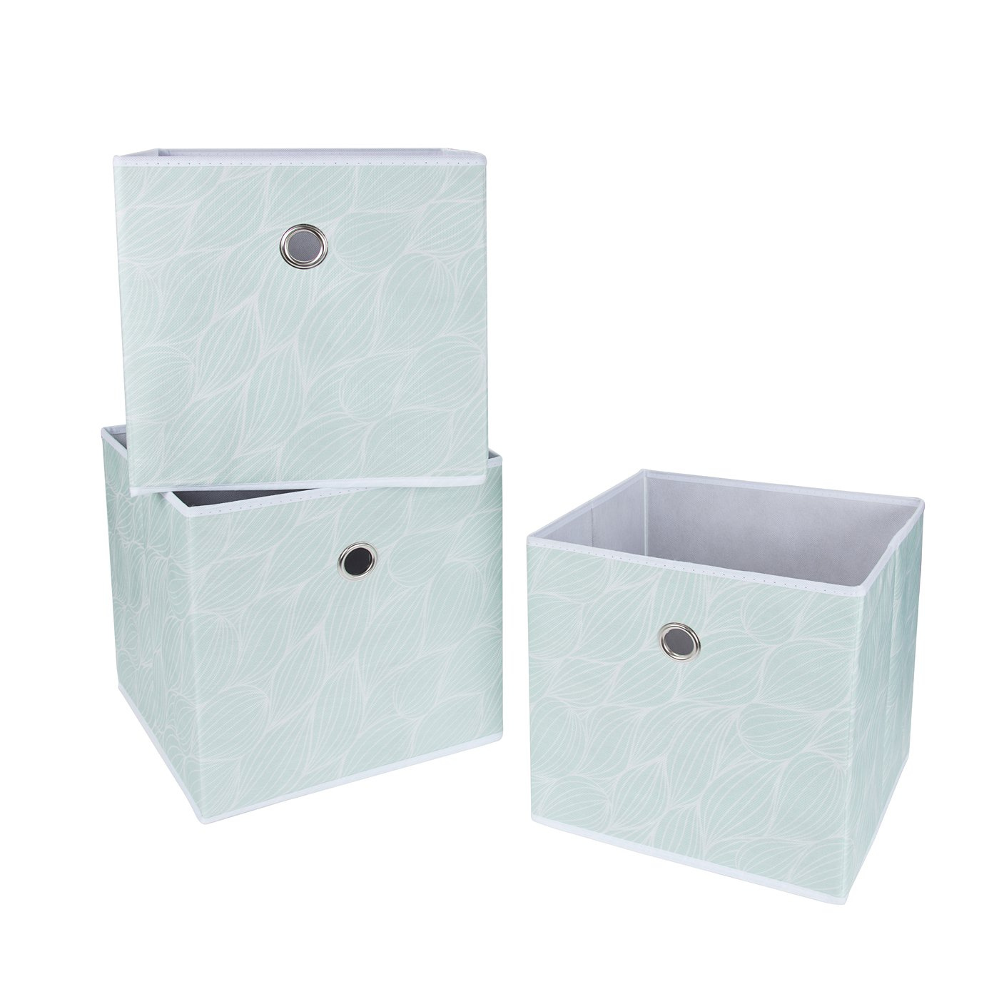 SbS Collapsible Foldable Fabric Storage Boxes, Cubes, Bins, Baskets. Mint Green Leaf pattern (3 Pack). Each Storage Bin Measures 11.8 inches on all sides