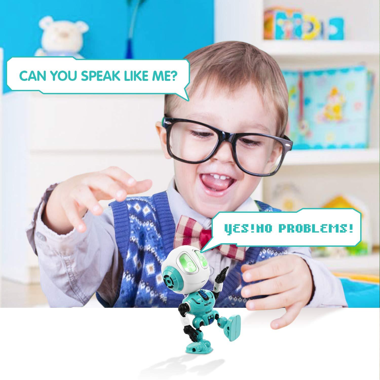 Peradix Mini Robot de Juguete,Robot Juguete Educativo con funci/ón de repetici/ón de Voz Azul Mini Robot Interactivo con Efectos Luces y Sonido Electronico Robot Regalo para Ni/ños