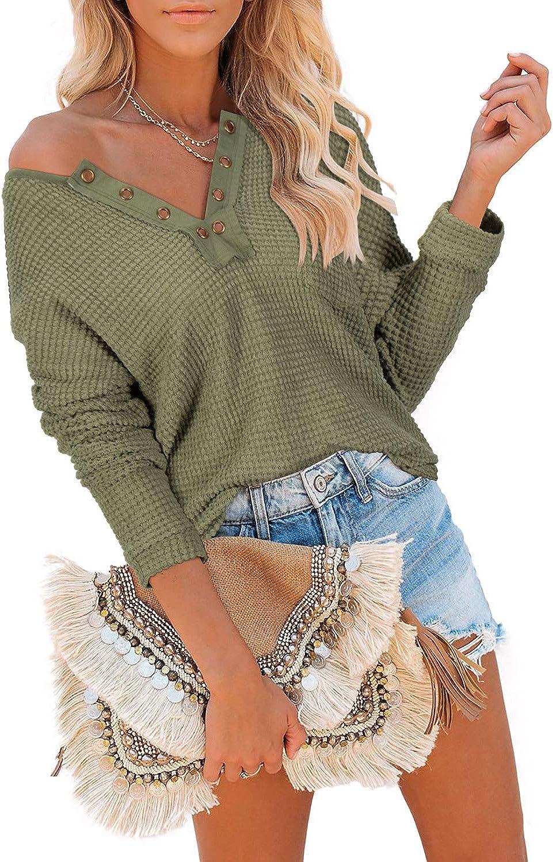 Adreamly Women Henley V Neck Waffle Knit Tops Long Sleeve Pocket Oversized Pullover Sweater Blouses