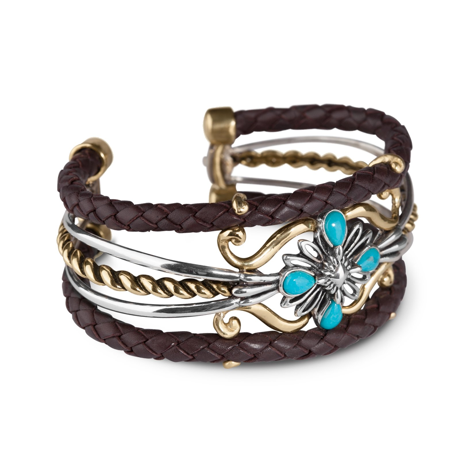 Sterling Silver, Brass and Leather Cuff Bracelet with Turquoise Gemstones by American West