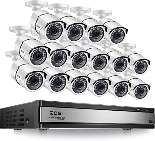 ZOSI H.265 16 Channel Security Camera System 1080p,16 Channel DVR Recorder and 16 x 1080p CCTV Bullet Camera Outdoor Indoor