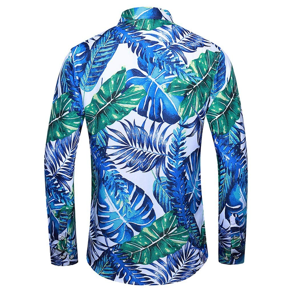 Fitfulvan Men Casual Long Sleeve Lapel Shirt,Leaves Printed Button Hawaiian Top Blouse