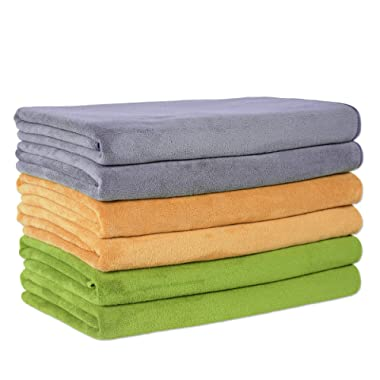JML Microfiber Towels, Camel/Grey/Teal, 27  x 55  (6-Pack)