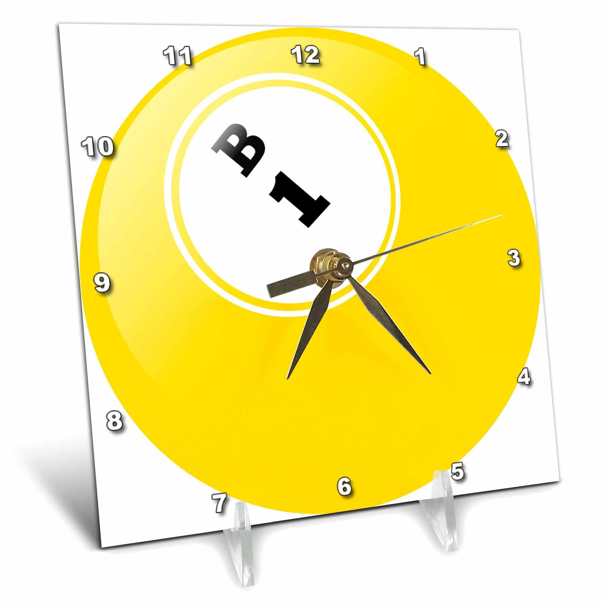 3dRose dc_50293_1 Bingo B 1 Desk Clock, 6 by 6-Inch by 3dRose