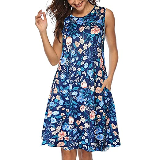 79efb6a9079 POTO Dress for Women Summer Casual Print Above Knee Tank Dress Ladies  Sleeveless Party Dress Beach Dress Sundresses at Amazon Women s Clothing  store