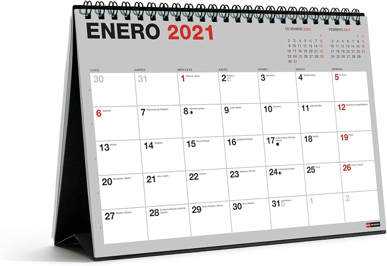 MIQUELRIUS - Calendario de Sobremesa 18 meses 2021 Basic - Español, A5 210 x 148,5 mm con espacio para escribir y apuntar, Un color por mes