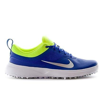 Nike AKAMAI Spikeless Golf Shoes 2017 Womens Paramount Blue Metallic Silver Volt  Medium 8 f065aa0f6