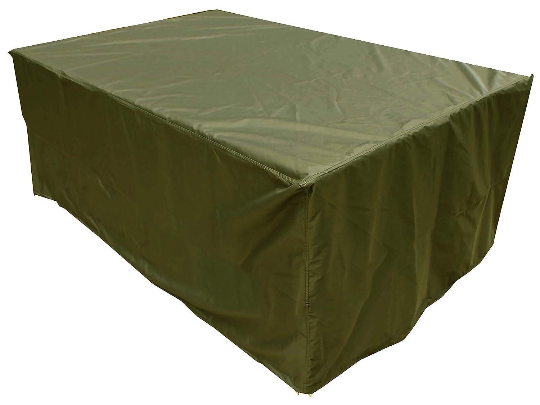 KaufPirat Premium Abdeckplane 220x110x80 cm Gartenmöbel Gartentisch Hülle Abdeckung Haube Schutzhülle Abdeckhaube Olivgrün