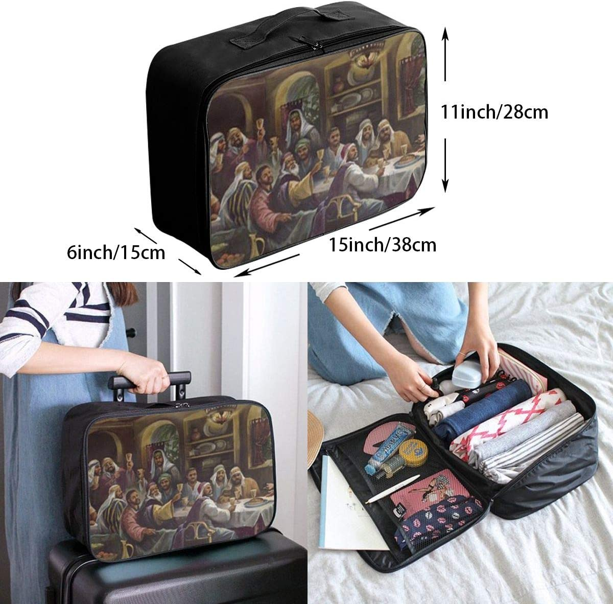 Church Dinner Travel Carry-on Luggage Weekender Bag Overnight Tote Flight Duffel In Trolley Handle
