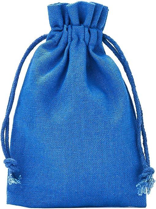 12 unidades bolsitas de algodón, bolsas de algodón, tamaño 15 x 10 cm con cordón para cerrar (azul): Amazon.es: Hogar
