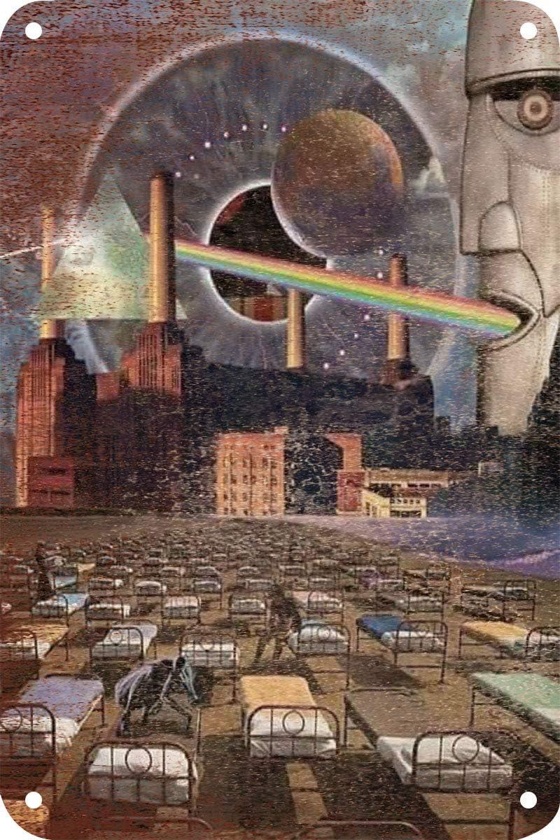 Pink Floyd P/óster de Pared Metal Creativo Placa Decorativa Cartel de Chapa Placas Vintage Decoraci/ón Pared Arte para Carretera Bar Caf/é Tienda